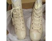 White canvas kitten heel sneakers size 6 from BASIA'S private collection - FREE U.S. SHIPPING