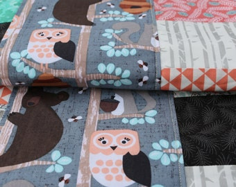 Owls in the woods Patchwork quilt Honey Bears in the Trees cotton quilt Nursery quilt Woodland quilt lap quilt