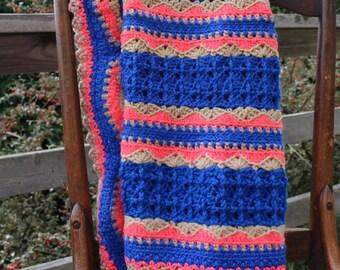 Royal Blue Afghan Crochet blanket Lap blanket Couch throw Team Spirit Throw blue coral tan blanket