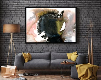 Expansion by Jules Tillman Fine Art Abstract Painting Print modern abstract watercolor painting white rose quartz pink gold black