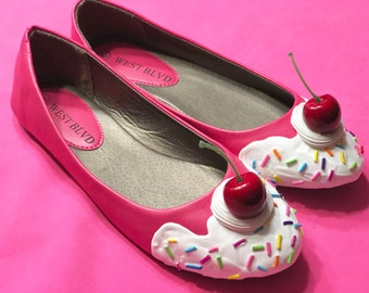 Pink with Vanilla Frosting Ice Cream Flats Size 6