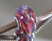 """RESERVED FOR ALEXANDRA Tangled Sky Glass """"Life Fire"""" #1 Fully Sterling Silver Lined Lampwork Charm Bead BhB"""