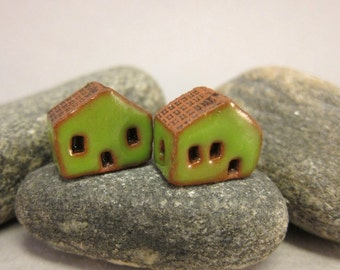 READY TO SHIP...Miniature Terracotta House Beads...Set of 2...Green