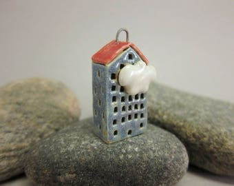 Tall Building...Stoneware House Pendant...Sky Blue