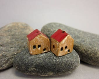 READY TO SHIP...Miniature Terracotta House Beads...Set of 2...Eggshell/Red Roof