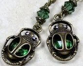 Emerald Green Egyptian Scarab Earrings, Crystal Earrings, Dangle Earrings, Scarab Earrings, Egyptian Jewelry, Unique Earrings