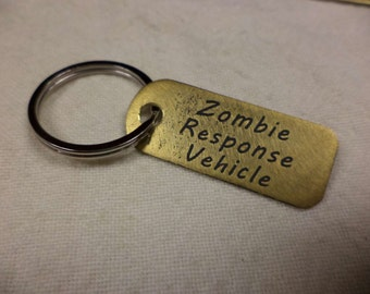 Zombie Response Vehicle Etched Brass Keychain