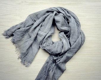 Large linen gauze shawl scarf Taupe Olive