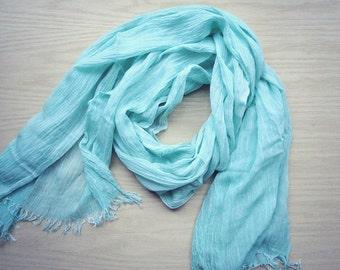 Large linen gauze shawl scarf Mint