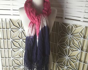 SALE - Hand-dyed Cotton Scarf - pink and blue scarf - fringed scarf - tie-dyed shawl - dip-dyed scarf - extra long scarf - summer - dip dyed