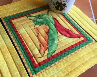Caliente Peppers - Mug Rug or Candle Mat  - oversized coaster / chili peppers / hot pepper / kitchen decor / quilted / red pepper / green