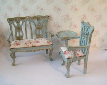Dollhouse  Loveseat and chair,Pie crust table  loveseat, tattychic loveseat, settee,  Tatty  chic dollhouse miniature in twelfth scale