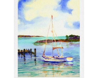 Summer Sail Watercolor Print