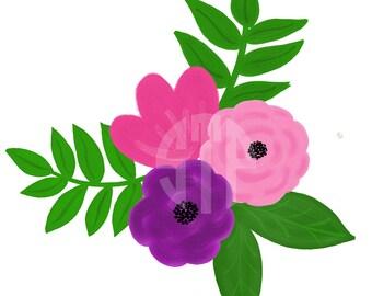 Floral Illustration Clip Art (Instant Download)
