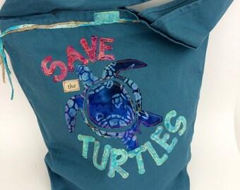 Cotton Canvas Bag, Appliqued Tote, Over the Shoulder Bag, Turtle Design Bag, Diaper Bag, Travel Bag, Beach Bag, Save the Turtles Tote Bag