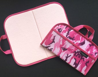 Large Felt / Flannel Board with handles and storage 18 X26 Pink Camo