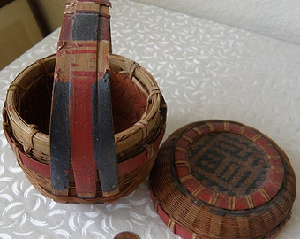 miniature chinese  basket with handle and color