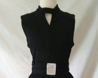 Vintage 70's Black  Evening Gown Keyhole Neckline Rhinestone Accent FREE shipping