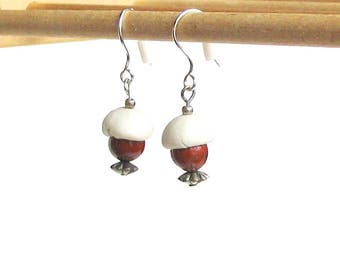 Artisan handmade white porcelain dangle bead cap pierced earrings ceramic clay bead with burnt orange stone bead on french silver toned wire
