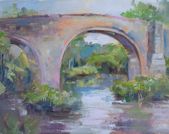 Original oil painting of bridge by Marty Husted