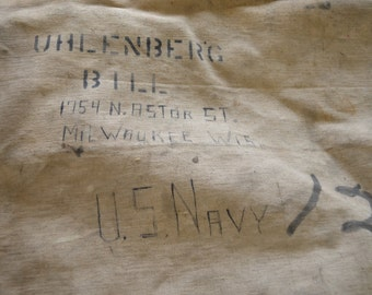 Vintage U.S. Military WHITE heavy canvas duck DUFFEL bag SOLDIER stenciled army navy