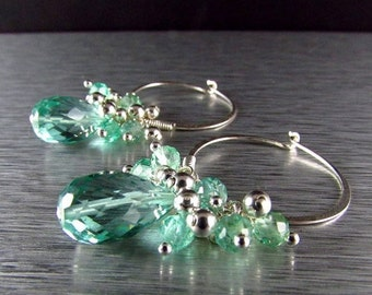 25% Off Aqua Quartz With Apatite Cluster Sterling Silver Hoop Earrings