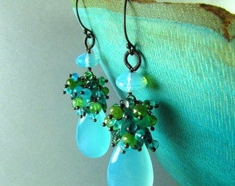 25% Off Aqua Blue Chalcedony and Cluster Oxidized Sterling Earrings, Chalcedony, Green Onyx, Blue Topaz, Peruvian Opal Apatite and Vesuviani