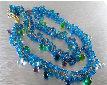 25% Off Neon Blue Apatite With Mixed Gemstone Briolettes Gold Filled Cluster Necklace Or Bracelet