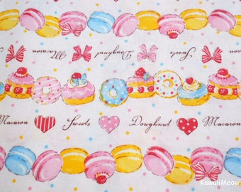 Japanese Fabric - Sweets Macaroons Doughnuts Pink - Half Yard (ma161201)