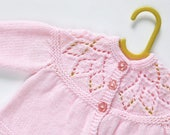 Traditional Style Baby Matinee Coat - Baby Pink - Hand Knit Baby Cardigan.