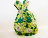 Japanese Knot Bag, Wristlet, Clutch, Mini Handbag, Project Bag, Knitting Bag, Bag, Pouch, Fabric Pouch, Gift for Mom, Floral Knot Bag