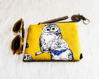 Owl Pouch, Case, Owl Case, Owl Zipper Pouch, Fabric Pouch, Fabric Zipper Pouch, Change Pouch, Owl Coin Purse, Gift for Her, Mothers Day Gift