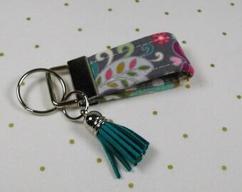 Mini Key Fob with Tassel, Mini Key Fob with Tassel, Mini Fabric Key Fob, Vintage Garden Gray