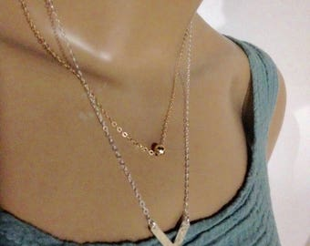 Chevron long necklace  silver and gold chains long dainty necklace chain dangles V necklace