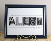 Couples Christmas Gift , Couples Gift , Wedding Gift , Christmas Gift , Alphabet Art Photos , Personalized Art , Anniversary , Black Frame