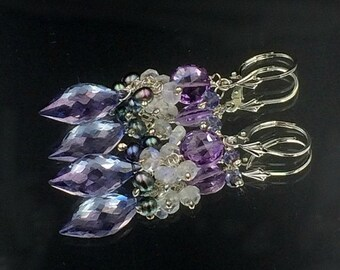 HALLOWEEN SALE Blue Quartz Earring Pink Amethyst Moonstone Wire Wrap Cluster Sterling Silver Blue Denim Earring Simple Everyday Blue Violet