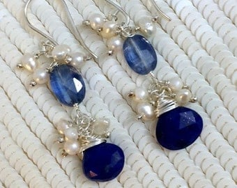 30% SALE Sapphire Blue Kyanite Earrings Wire Wrap Sterling Silver Pearl Cluster September Birthstone Kyanite Blue Lapis Jewelry Doolittlejew