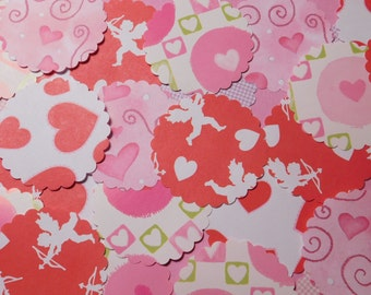 Sale - 80 Plus Scalloped Paper Posies - Valentine's Day Theme