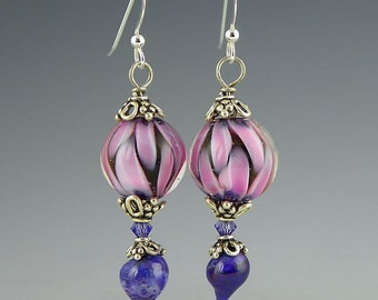 pink and purple petal earrings with swarovski crystal accents glass lampwork & sterling silver handmade