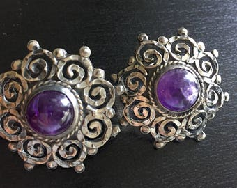 Vintage Matl Salas Sterling Peirced Earrings with Round Amethyst Cab and Hand Worked Scrolling Silver 925 Frame Signed Taxco Mexico