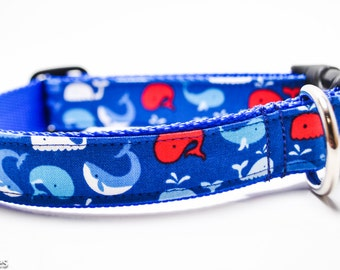 Whales Dog Collar / Red and Blue Whales / Martingale or Buckle / Nautical Dog Collar