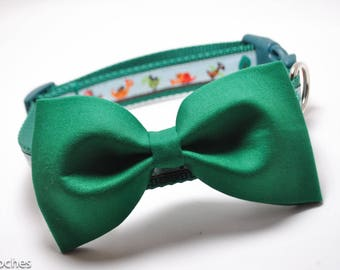 Hunter Green Bowtie to add to Dog Collar / Removable Bow Tie / Bowtie ONLY