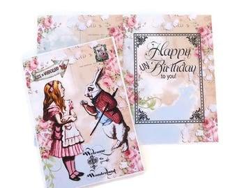 Alice in Wonderland, Birthday Card,Tea Party, Eat me,White Rabbit, Children Fairytale, Playing Cards, Retro Vintage, Happy Un Birthday