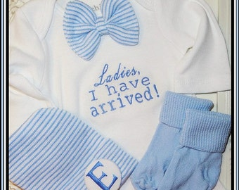 Take me home outfit boy, Newborn Boy Bow-tie one piece with matching hat and sock set, Newborn Boy Gift Set, Ladies I have arrived outfit