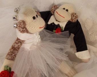 Sock Monkey Wedding Cake Topper~Miniature Sock Monkey Couple~Bride and Groom Sock Monkey~Sock Monkey Wedding Decoration