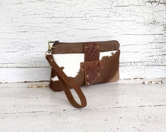 Hair On Cowhide &  Leather Smartphone Wallet, Wristlet, Clutch, Organizer, iPhone 7S Plus Wallet