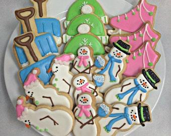 SNOWMAN SUGAR COOKIES, Christmas Sugar Cookie Gift Set, 18 Cookies