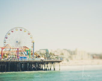 ferris wheel print, santa monica pier, santa monica beach, pacific ocean, california print, beach house decor, pastel nursery decor
