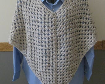 Crocheted Classic Granny Square Poncho - Wheat