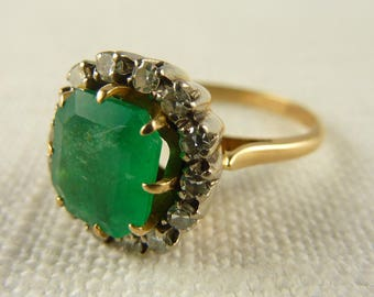 Vintage 10K Emerald and Diamond High Profile Cocktail Ring Size 7.5